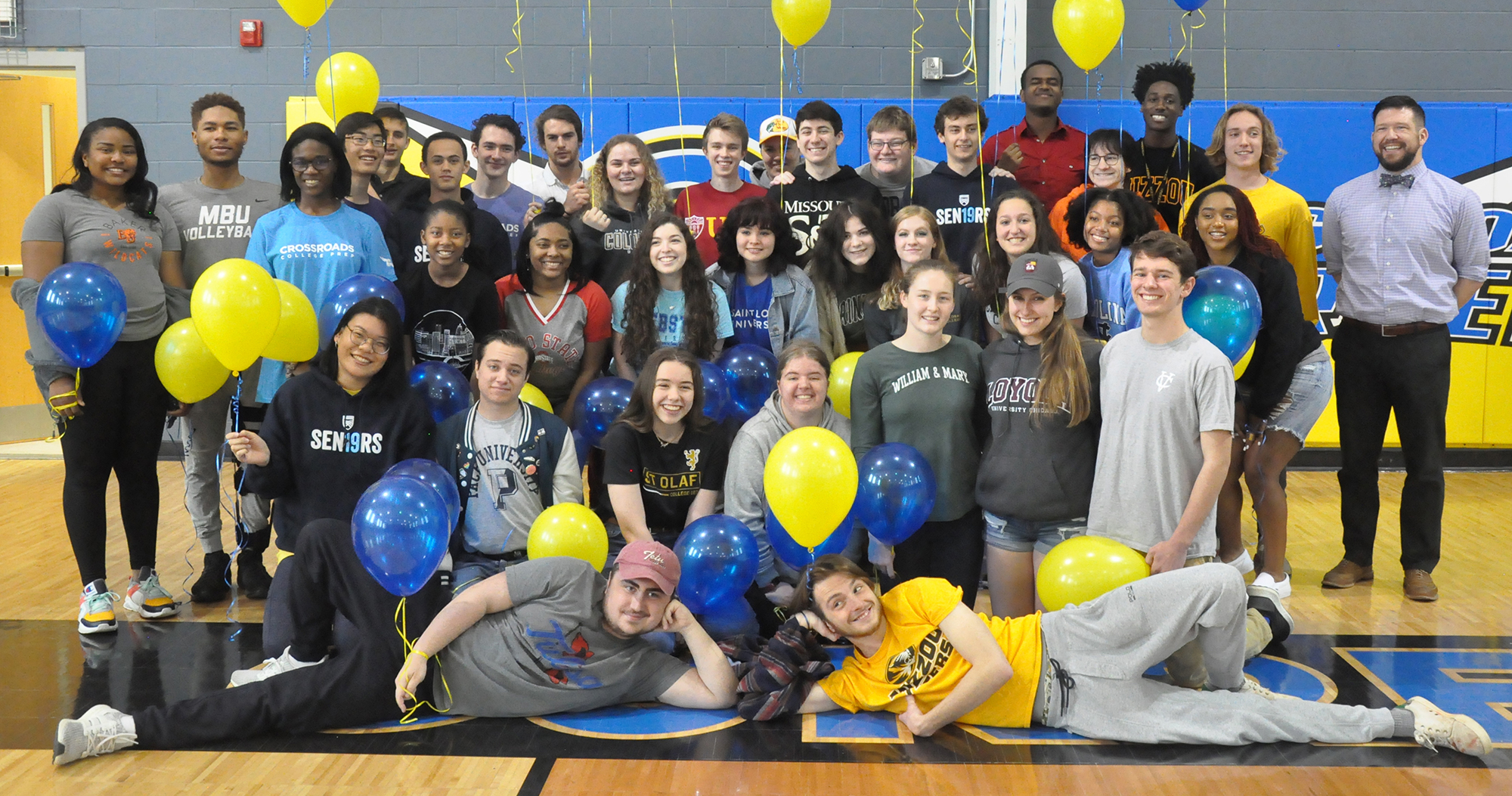 Balloon Day at Crossroads. Seniors wore shirts showing their colleges.