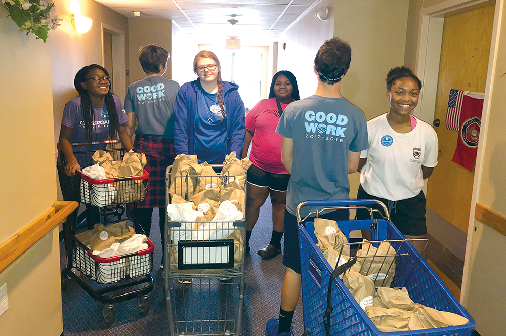 Crossroads students deliver food on Good Work