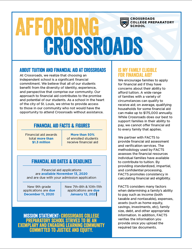 Affording Crossroads All About Financial Aid