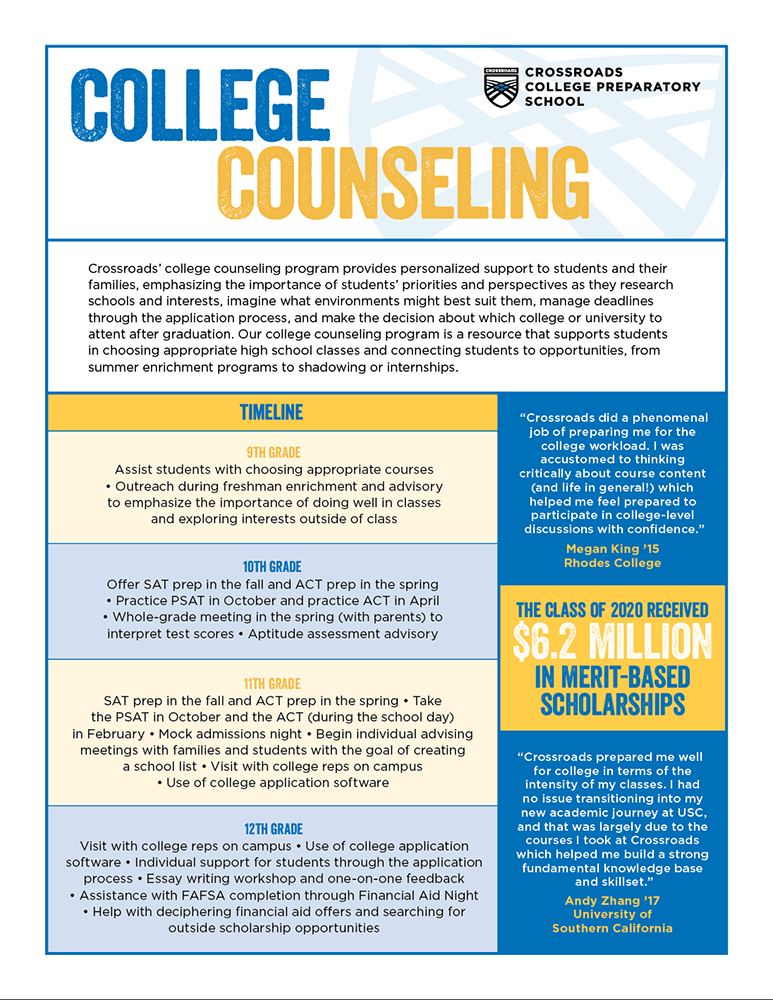 Crossroads College Counseling One Pager